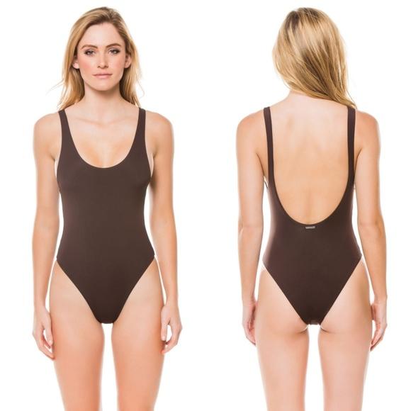 8e47f7989e MARA HOFFMAN brown tank high cut swimsuit  0432